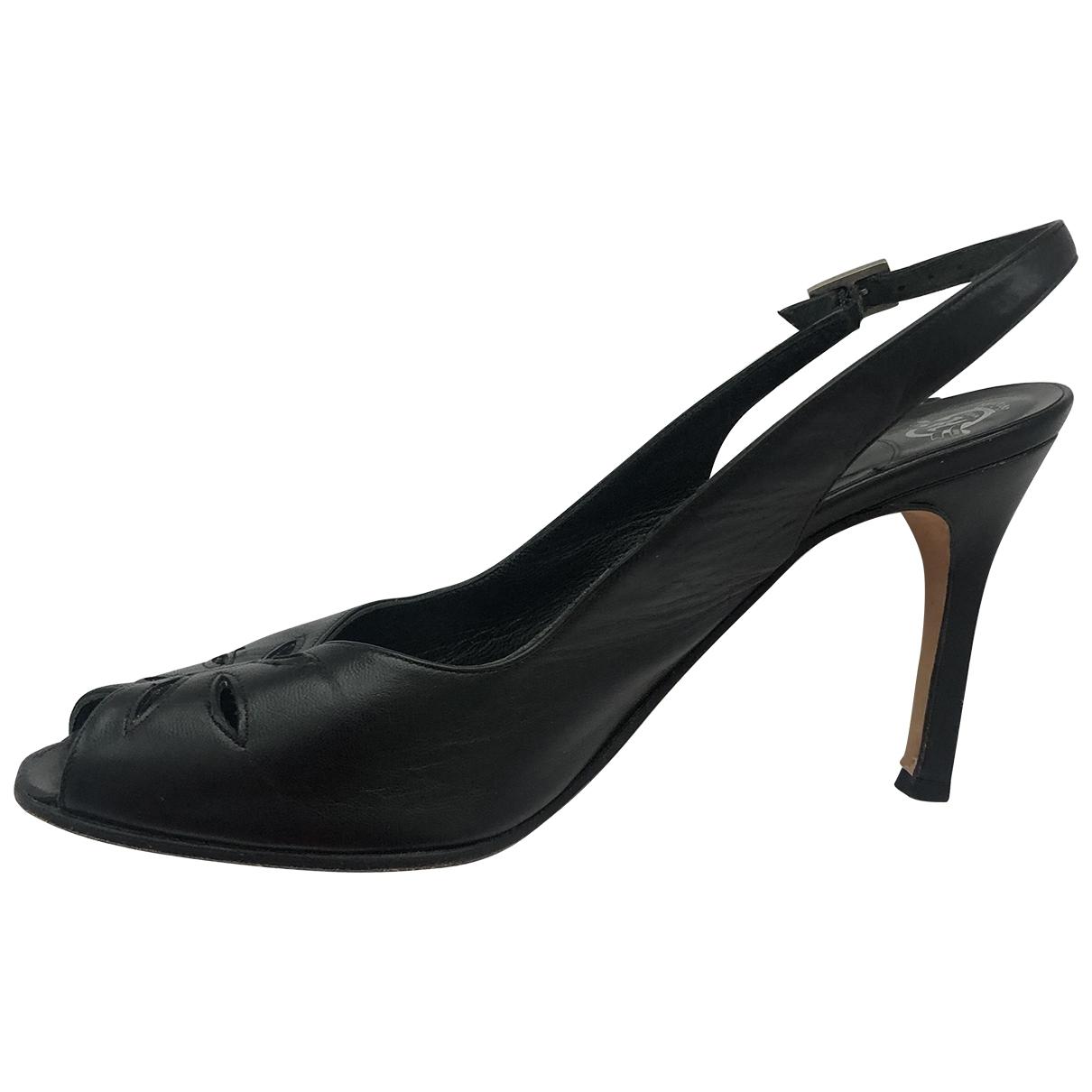 Gina - Sandales   pour femme en cuir - noir