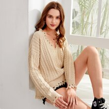 Drop Shoulder Cable Knit Fringe Trim Sweater