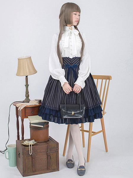 Milanoo Victorian Lolita Shirt Lace Bow Ruffled Classical Lolita Blouse With Mandarin Collar