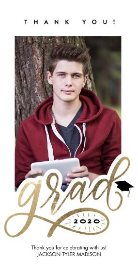 Graduation Thank You Cards 4x8 Flat Card Set, 85lb, Card & Stationery -Grad Thank You 2020 Script by Tumbalina