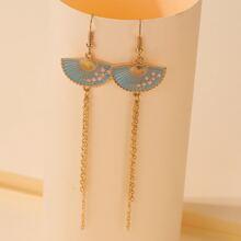 Fan Decor Chain Tassel Earrings