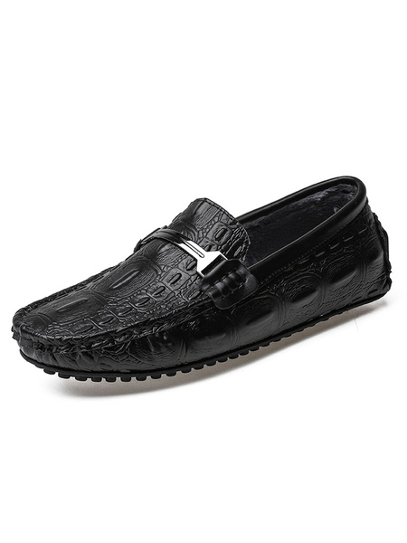 Milanoo Mocasines Mocasines Zapatos de conduccion internos de felpa con estampado de cocodrilo