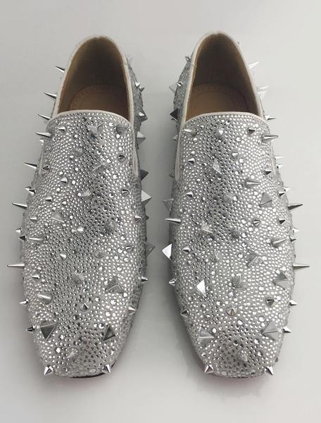 Milanoo Mocasines de hombre 2020 Zapatos de cuero autentico con remachede puntera cuadrada de tacon gordo mocasines para fiesta