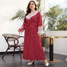 Plus V-neck Lace Trim Bell Sleeve Polka Dot Belted Dress