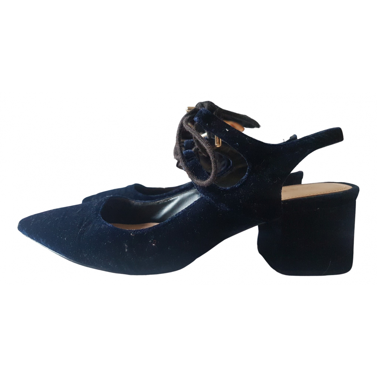 Zara \N Sandalen in  Blau Samt