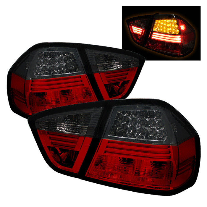 Spyder Auto ALT-YD-BE9006-LED-RS Red Smoke LED Taillights BMW E90 328i 4dr 07-08