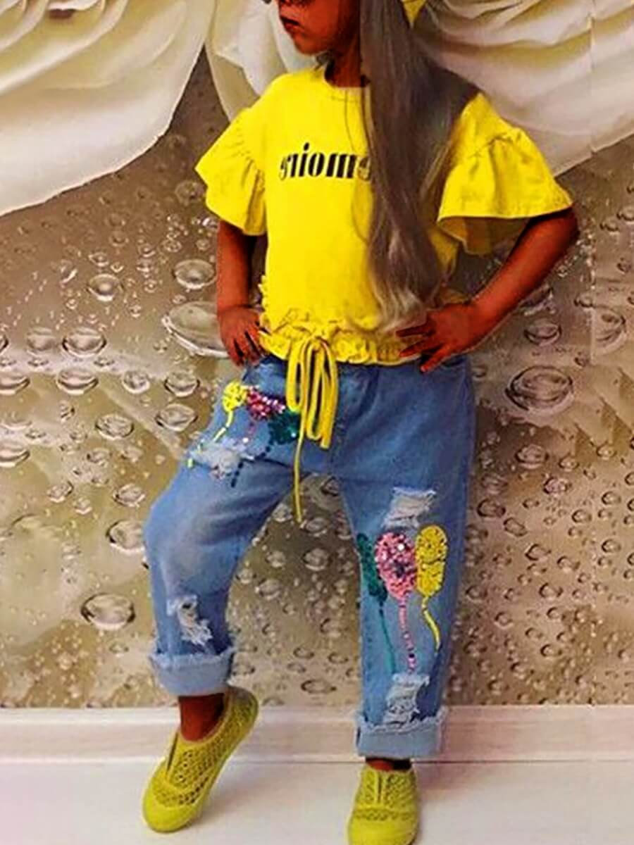 LW Lovely Casual O Neck Letter Print Yellow Girl Two-piece Pants Set