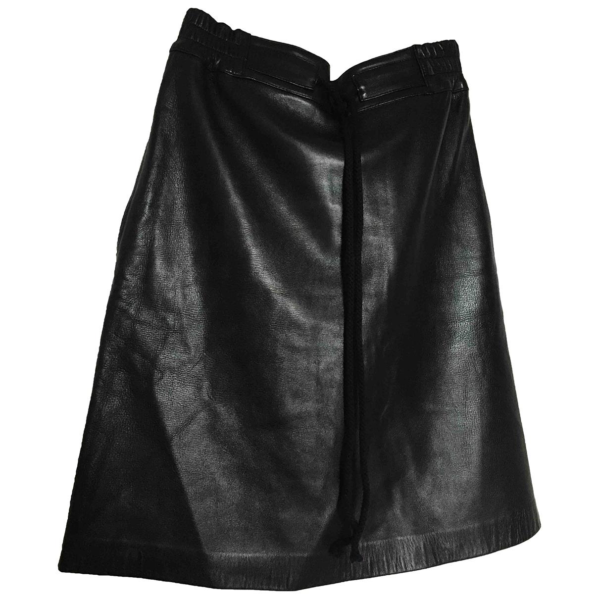 Les Prairies De Paris \N Black Leather skirt for Women One Size FR