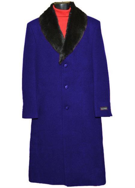 Men's 3Button Wool Fur Collar Single Breasted Full Length Overcoat