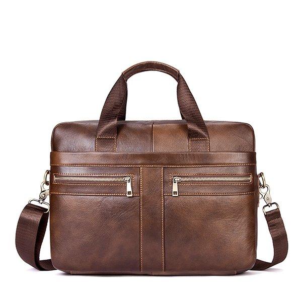 Man Vintage Genuine Leather Crossbody Business Handbag Bag 14″ Laptop Bag
