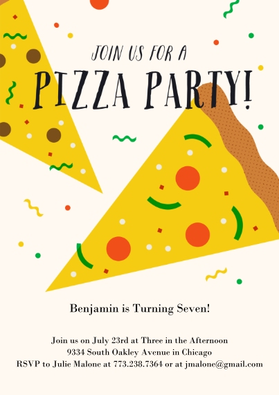 Kids Birthday Party Invites 5x7 Cards, Premium Cardstock 120lb with Scalloped Corners, Card & Stationery -Pizza Party Invite