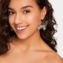 1pair Clear Butterfly Shaped Quicksand Earrings