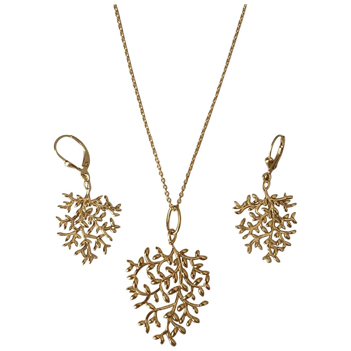 Non Signe / Unsigned Motifs Floraux Kette in  Gold Vermeil