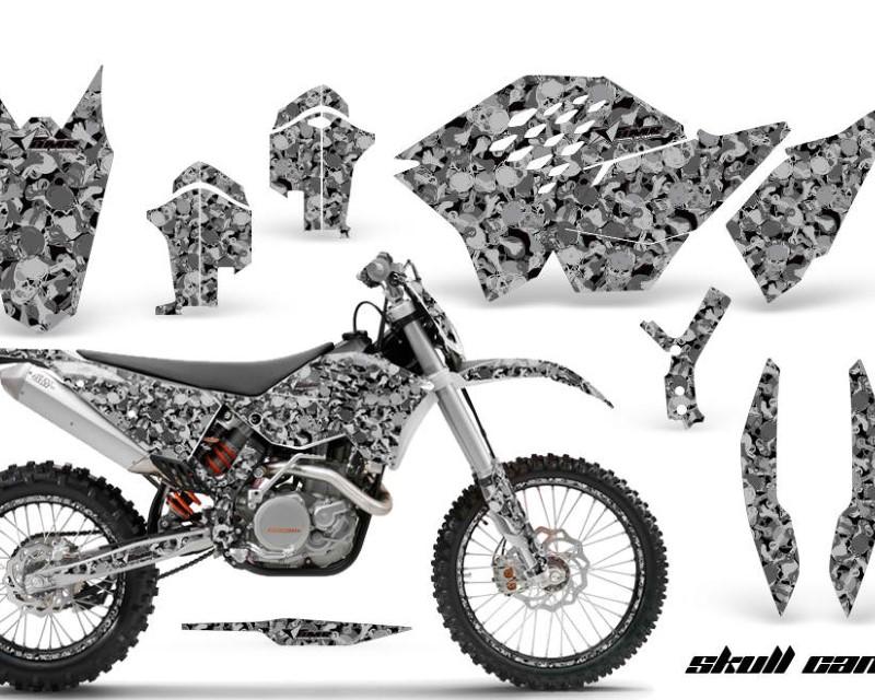 AMR Racing Graphics MX-NP-KTM-C5-07-11-SC K Kit Decal Wrap + # Plates For KTM SX/XCR-W/EXC/XC/XC-W/XCF-W 2007-2011áSKULL CAMO BLACK