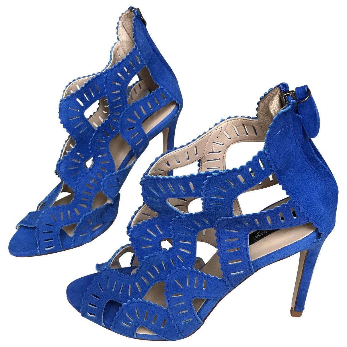 Zara - Sandales   pour femme en suede - bleu