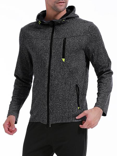 Yoins Men Winter And Spring Drawstring Zipper Long Sleeve Pocket Hoodies