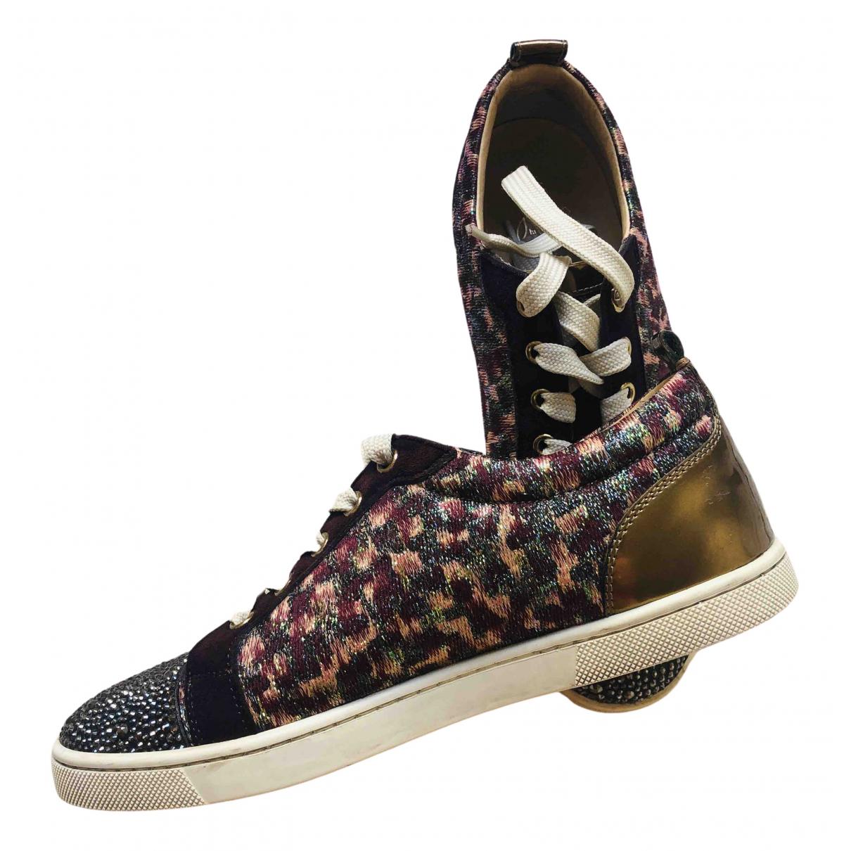 Christian Louboutin Louis Sneakers in  Bordeauxrot Leinen