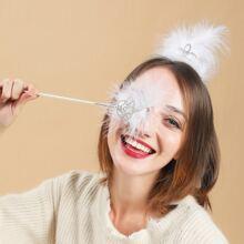 2pcs Rhinestone Decor Hair Accessory