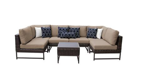 Barcelona BARCELONA-07c-BRN-WHEAT 7-Piece Patio Set 07c with 2 Corner Chairs  4 Armless Chairs and 1 End Table - Beige and Wheat Covers with Brown