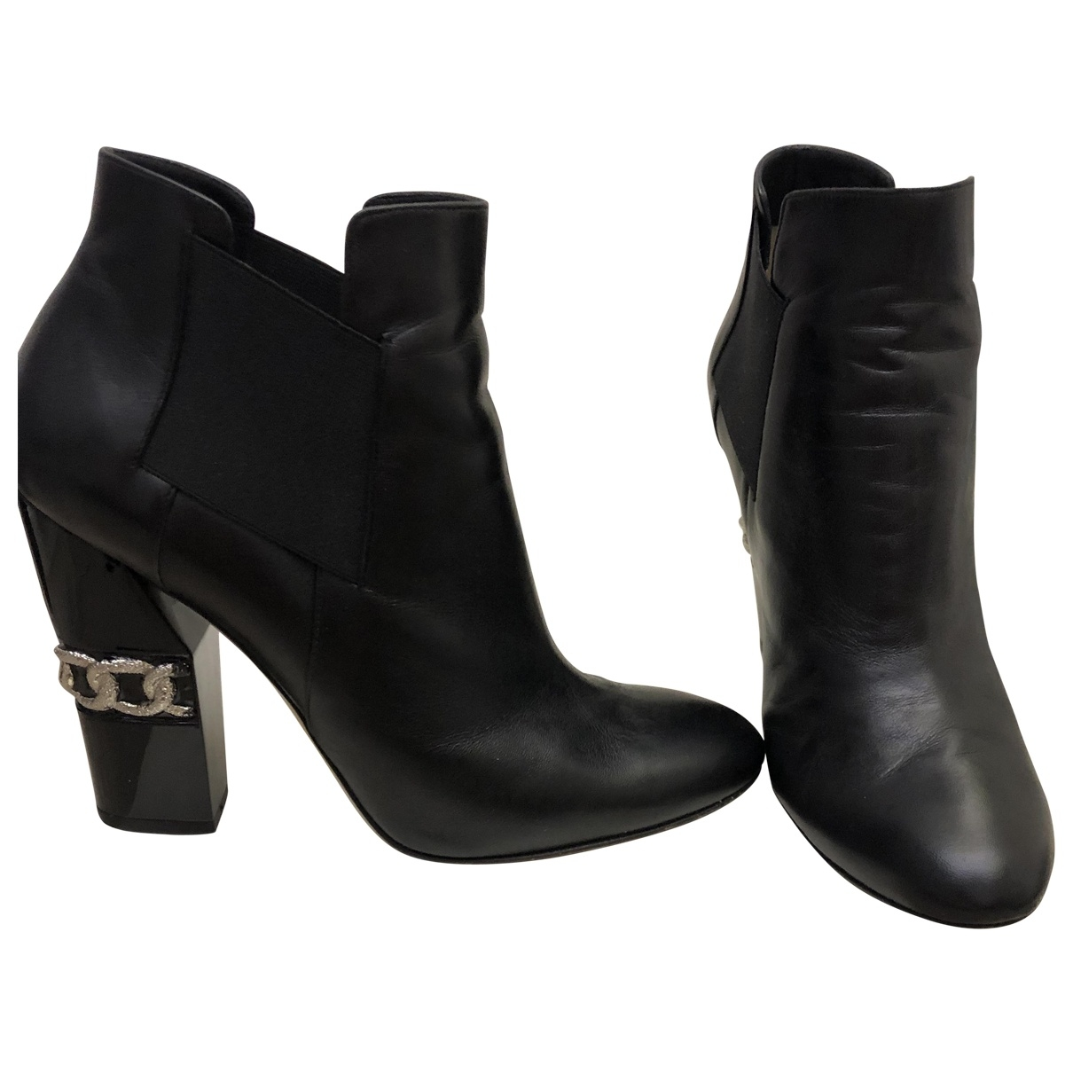 Casadei \N Black Leather Ankle boots for Women 40 EU
