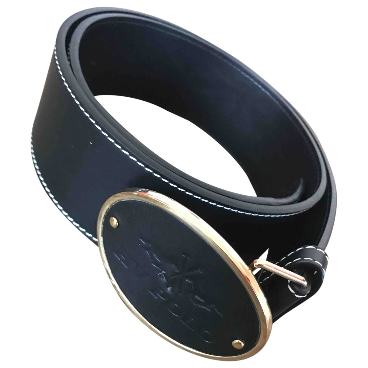 Non Signé / Unsigned \N Black Leather belt for Women 95 cm