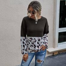 Color Block Drop Shoulder Sweater