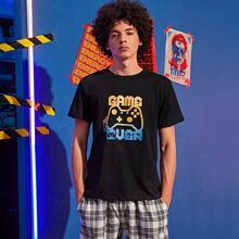 Maenner T-Shirt mit Buchstaben und Grafik Muster