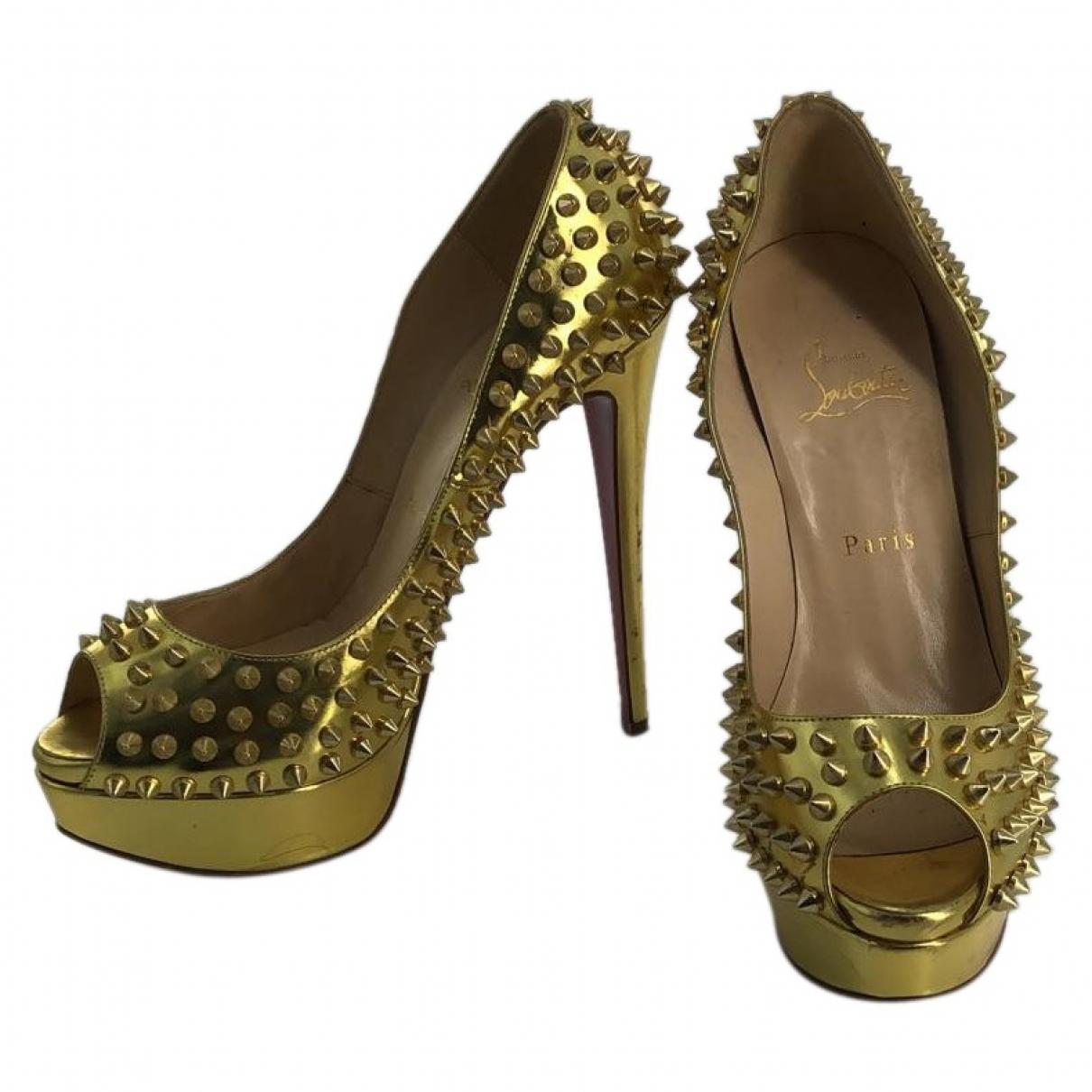 Christian Louboutin Lady Peep Gold Patent leather Heels for Women 39 EU