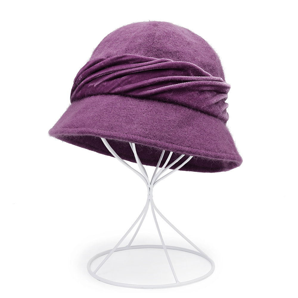 Women Warm Rabbit fur Cap Solid Color Outdoor Casual Windproof Sunshade Basin Cap