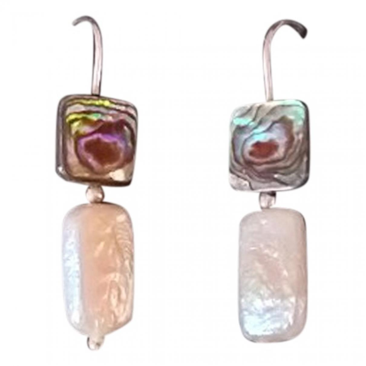 - Boucles doreilles   pour femme en perle - argente