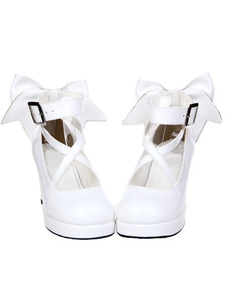 Milanoo White Chunky High Heels Lolita Shoes Ankle Strap Bow Decor