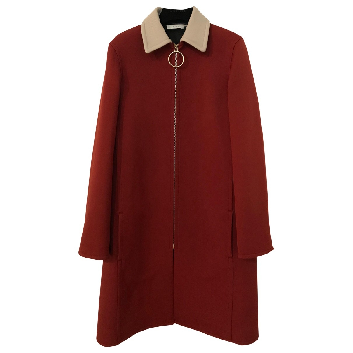 Celine \N Burgundy Wool coat for Women 36 FR