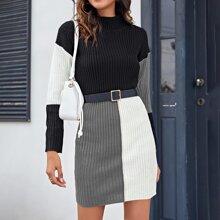Kleid mit hohem Kragen und Farbblock ohne Guertel