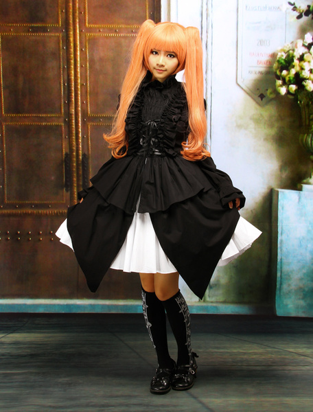 Milanoo Cotton Black Halter Sleeveless Gothic Punk Lolita Dress