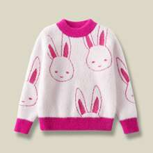 Pullover mit Karikatur Hase Muster