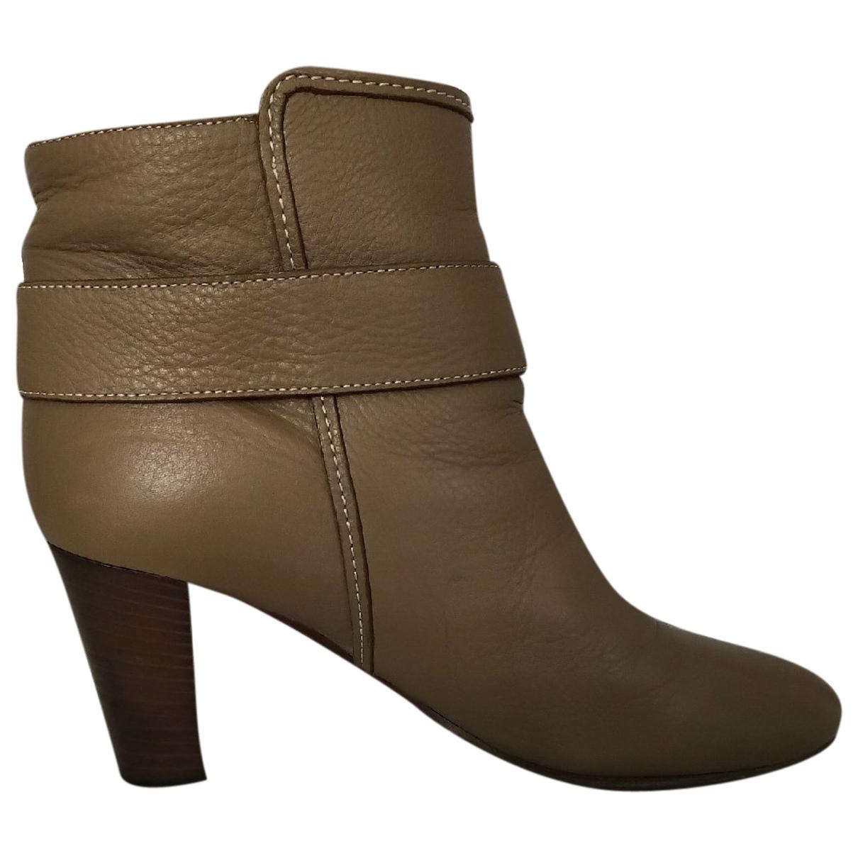Chloe - Boots   pour femme en cuir - kaki