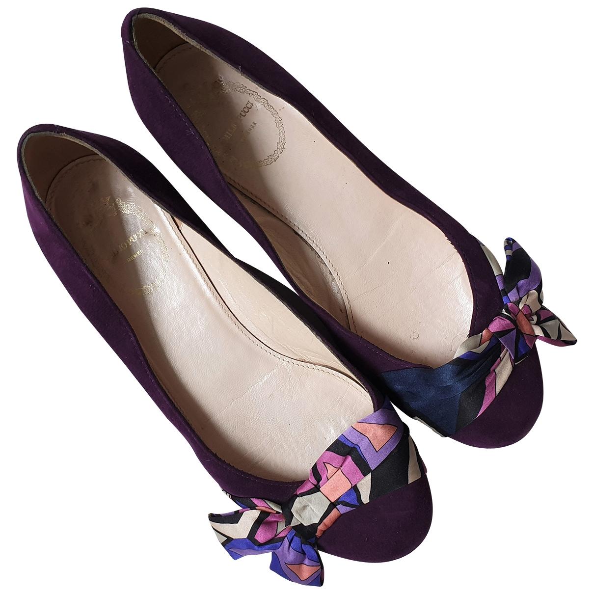 Emilio Pucci \N Purple Suede Ballet flats for Women 36.5 EU