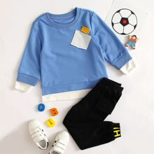 Toddler Boys Patched 2 In 1 Sweatshirt & Letter Graphic Sweatpants