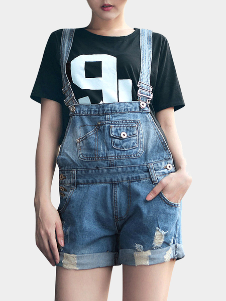 Yoins Blue Denim Playsuit With Rips And Rolled Hem