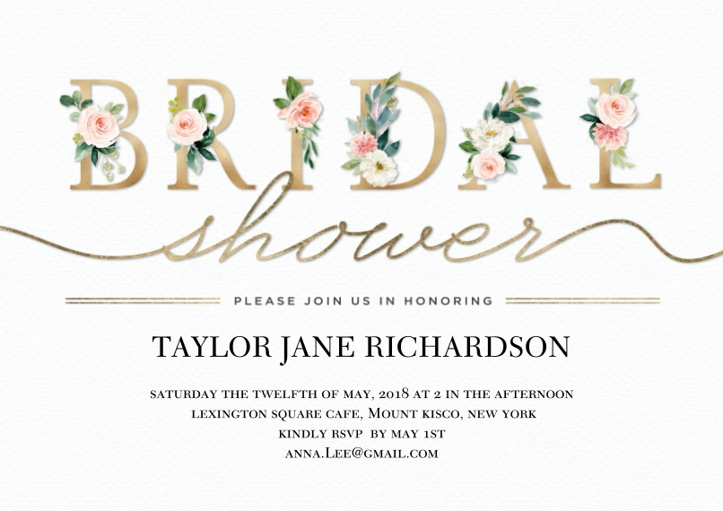 Wedding Shower Invitations 5x7 Cards, Premium Cardstock 120lb with Rounded Corners, Card & Stationery -Bridal Shower Floral Lettering by Tumbalina