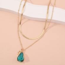 Mehrschichtige Halskette mit Stein Dekor