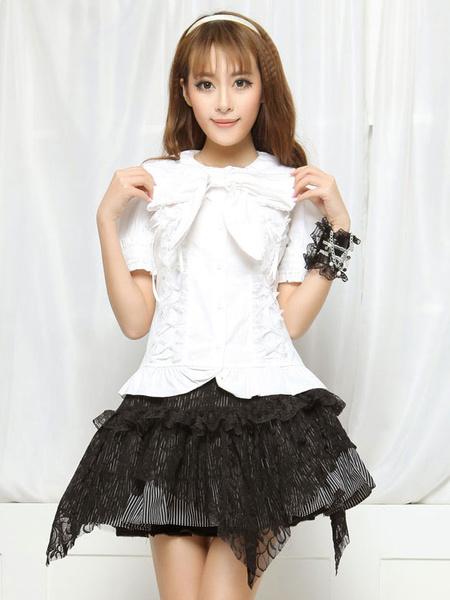 Milanoo Blanco arcos Lolita blusa de algodon acanalado para las mujeres