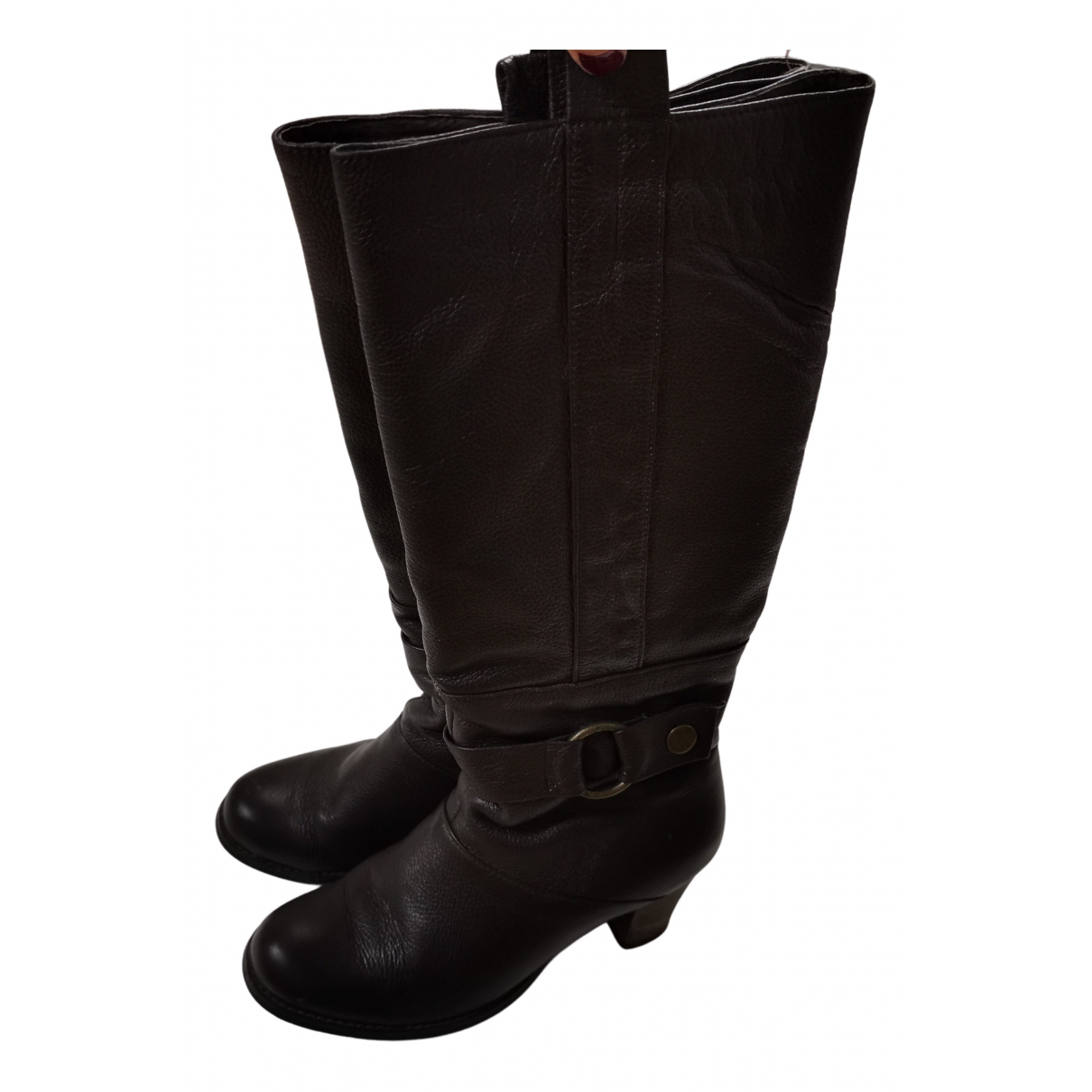 Non Signé / Unsigned N Brown Leather Boots for Women 37 EU