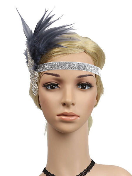 Milanoo Retro Hair Accessories 1920s Great Gatsby Headband Rhinestone Women Flapper Headpieces Halloween