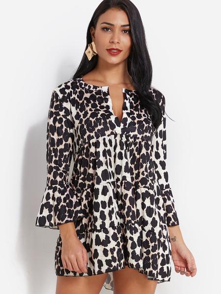 Yoins Leopard Stitching Design V-neck Bell Sleeves Dress