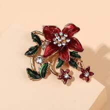 Brosche mit Strass Dekor und Blumen Design