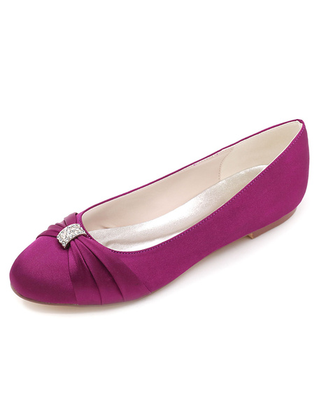 Milanoo Zapatos de novia de saten Zapatos de Fiesta rojo  Zapatos de puntera redonda Zapatos de boda 0.5cm con pedreria
