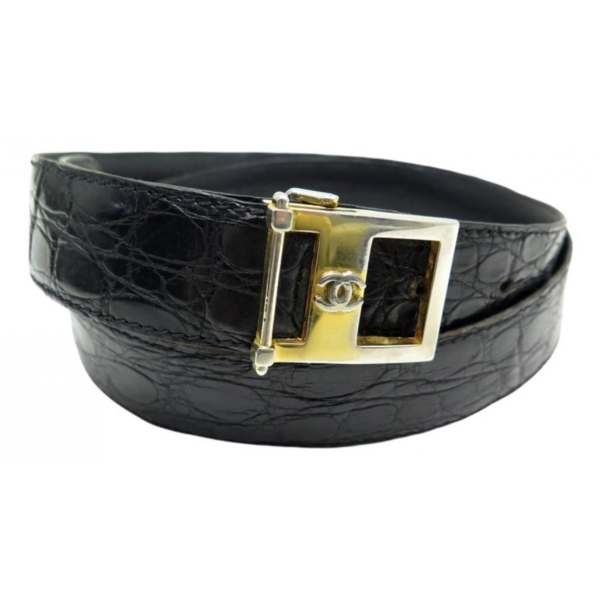 Chanel \N Black Crocodile belt for Women 85 cm