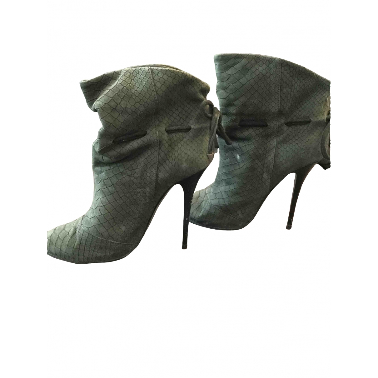 Giuseppe Zanotti \N Grey Leather Ankle boots for Women 36 EU