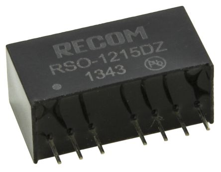 Recom RSO 1W Isolated DC-DC Converter Through Hole, Voltage in 4.5 → 18 V dc, Voltage out ±15V dc